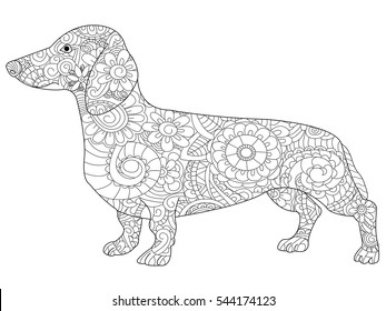 Dachshund coloring book for adults vector illustration. Anti-stress coloring for adult dog. Zentangle style nature pet. Black and white lines symbol guard. Lace pattern friend.