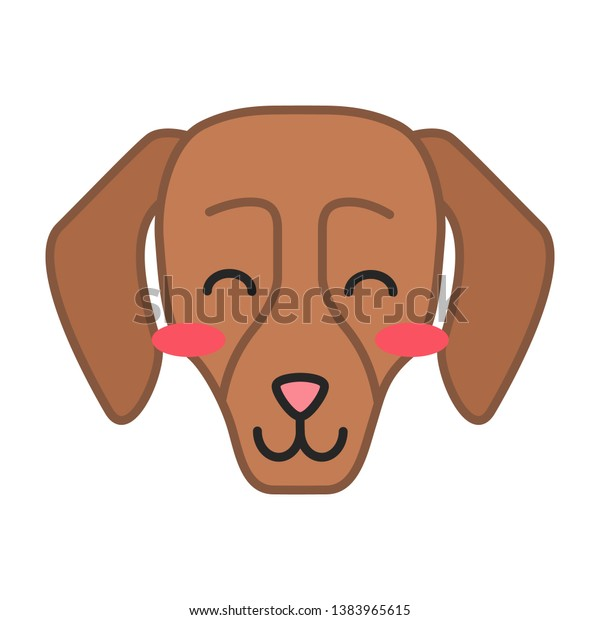 Dachshund Cute Kawaii Vector Character Dog Stock Vector (Royalty