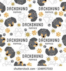 Dachshund : Dog breed collection : Seamless Pattern : Vector Illustration