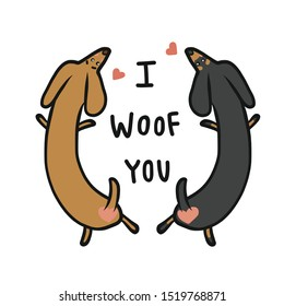 Dachshund dog couple, I woof you cartoon vector illustration doodle style