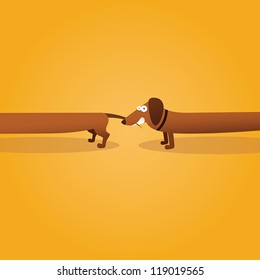 Dachshund dog eats Dachshund dog