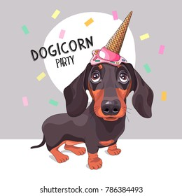 Dachshund Dog in a ice cream party cap. Vector illustration.