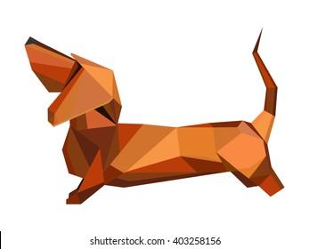 Dachshund dog isolated on white.  Vector Illustration ,