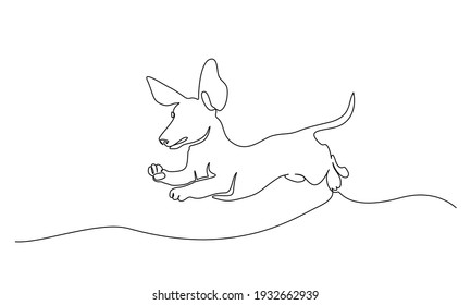 Dachshund dog running design silhouette. Continuous one line drawing. Hand drawn minimalism style vector illustration