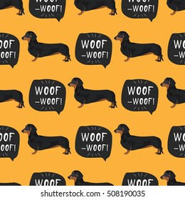 Dachshund dog seamless pattern colorful background with woof banner