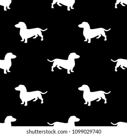 Dachshund dog. Seamless pattern in eps 10. Black and white background. Cute sausage dog