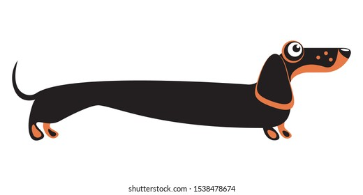 Dachshund dogs. Funny flat illustration.