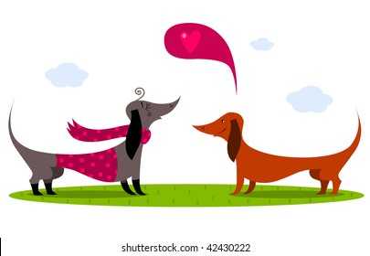 Dachshund Dogs - vector