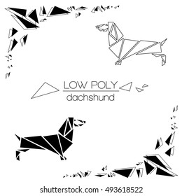 Dachshund drawn in the graphic black and white style. The form is created from a plurality of triangles.