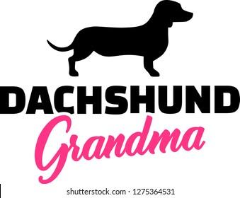 Dachshund Grandma silhouette black with pink word