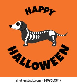 Dachshund in Halloween costume, Happy Halloween card