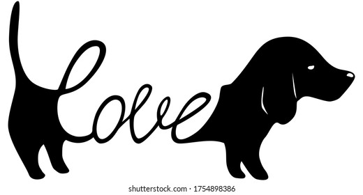 Dachshund illustration with word love inside, dog lover sign isolated black on white, cute print for t-shirts and dog clothes