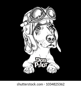 Dachshund in a pilot helmet and glasses. Vector black and white illustration.