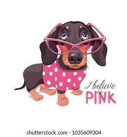 Dachshund in a pink glasses and a polka dot dress. Vector illustration.