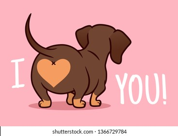 Cutе dachshund puppy dog vector cartoon illustration isolated on pink background. Funny