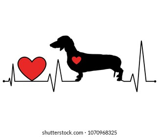 Dachshund silhouette heartbeat line vector illustration. Illustration for cutting, vinyl decal, sticker print for t shirts.