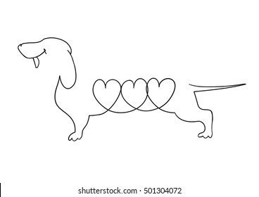 Dachshund. Vector illustration drawn freehand. Original linear image of a Dachshund with hearts.
