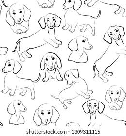 dachsund cute animals seamless vector pattern