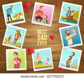 Dad day composition on wooden background with hearts text and polaroid photographs of father and son vector illustration