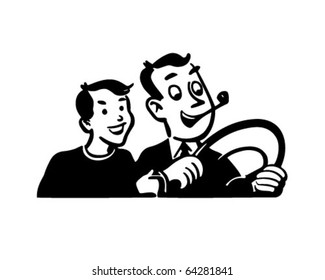 Dad Driving With Son - Retro Clipart Illustration