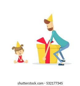 Dad gives daughter a birthday gift.  Daughters birthday. Flat vector illustration.