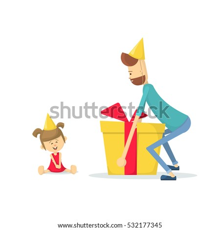 Dad Gives Daughter A Birthday Gift Daughters Flat Vector Illustration
