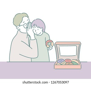 Dad is giving a gift to his daughter with a donut and whispering. hand drawn style vector design illustrations.