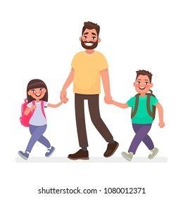 Dad goes with the kids to school. Primary school children and father together. Vector illustration in cartoon style