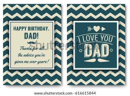 Dad Happy Birthday Card Set I Love You Words For Greeting Or Festive Poster