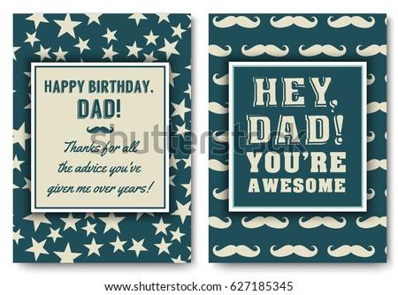 Dad Happy Birthday Card Set Love Stock Vector Royalty Free