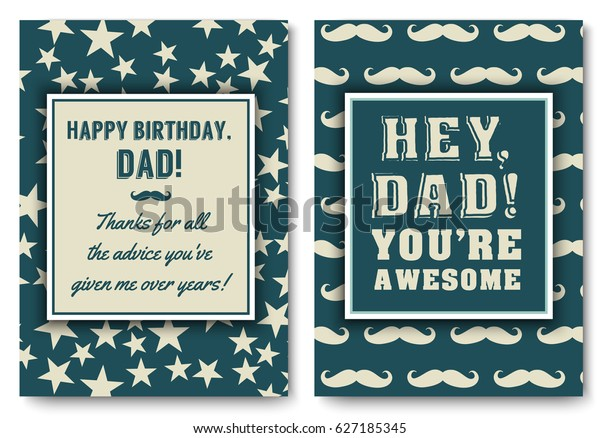 Dad happy birthday card set, I love you words for greeting card or festive poster, banner for dear father with brutal striped navy background, vector template illustration