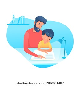 Dad helping son with homework flat illustration. Parenting, fatherhood vector illustration. Father educating kid isolated clipart. Family time. Parent teaching toddler reading design element