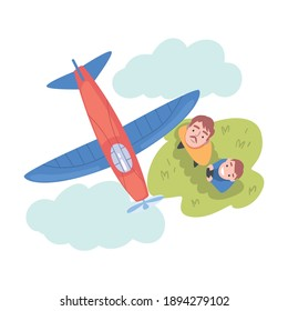 Dad and his Son Launching Aeromodel or Glider, View from Above of Happy Parent and Son Spending Time Together Outdoors, Aeromodelling Concept Cartoon Style Vector Illustration