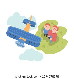 Dad and his Son Launching Aircraft Model, View from Above of Parent and Child Watching at Flying Airplane Outdoors, Aeromodelling Concept Cartoon Style Vector Illustration