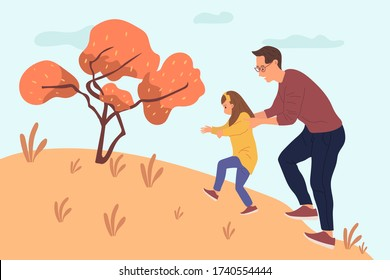 Dad hugging his daughter back from behind to climb over the hill flat vector illustration. Happy father's day concept