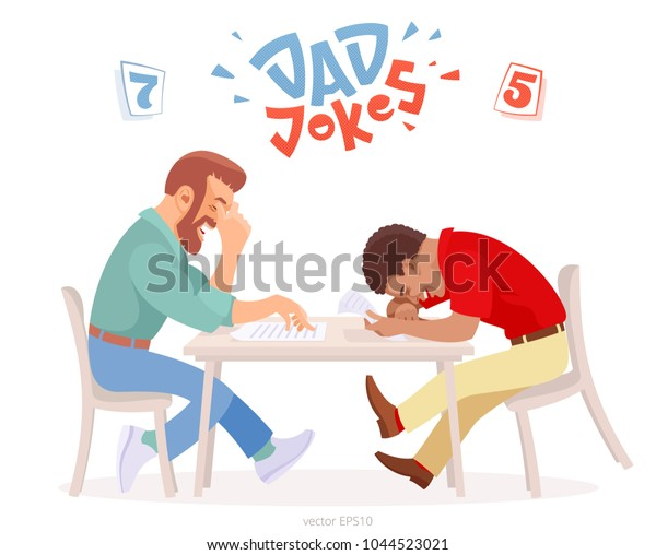 Dad jokes battle. Two adult men at the table tries to make each other laugh. Bearded white male hides his chortle under a facepalm, black man almost dies of laughter. Original logo of funny challenge.