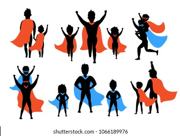 dad and kids, boy and girl playing superheroes silhouettes set