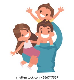 Dad with kids flat vector illustrations, isolated on white background. Dad keeps son on his shoulders.