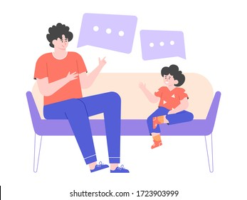Dad and little son are sitting on the couch. Man talks to his child, teaches him, gives advice. Speech dough. Family men's evening. Vector flat illustration.