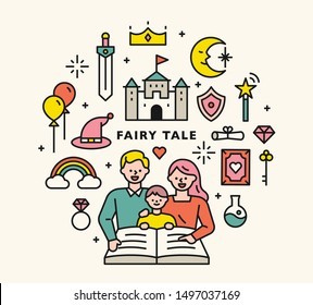 Dad and Mom are reading fairy tales to their children. Fairy tale icons circle layout. flat design style minimal vector illustration.