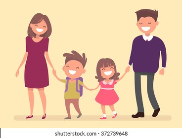 Dad Mom son and daughter go together hand in hand. Family on a walk. Vector illustration in a flat design