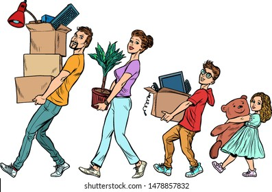 Dad mom son and daughter moved to a new house. Pop art retro vector illustration drawing