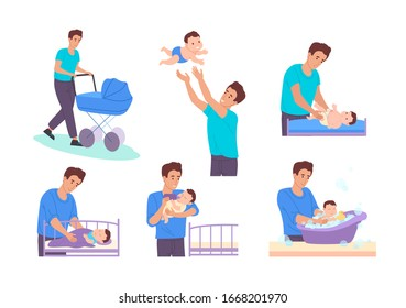 Dad on maternity leave. Dad takes care of newborn son:he walks  with a stroller, throws the baby into the air,changes the diaper,bathes in the bath,feeds him from the bottle and puts him to bed.Vector