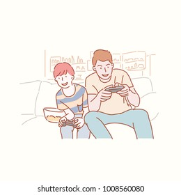 Dad plays the game happily with his son. hand drawn style vector doodle design illustrations.