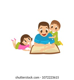 Dad reading a book to his son and daughter, family, early development concept vector Illustration on a white background