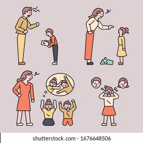 Dad is scolding his son. Mom is scolding her daughter. The children are fighting and the mother is scolding them. flat design style minimal vector illustration.