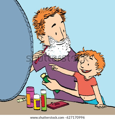 Dad Shaves Son Watches Caricature Cartoon Style Hand Drawn Color Illustration
