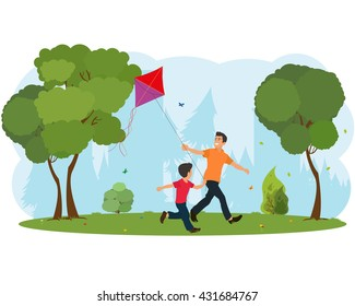 Dad and son child flying a kite. vector.
