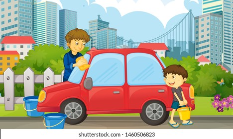 Dad and son cleaning car illustration