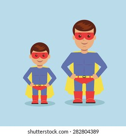 Dad and son dressed as a superhero. Vector illustration